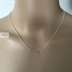 Zilveren muziek noot vioolsleutel collier €16.95 inclusief verzenden - ZilverVoorJou Echt 925 zilveren sieraden