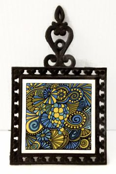 Psychedelic Grapes Cast Iron and Ceramic Tile Trivet Blue Green Yellow Swirls Vintage Kitchen Decor Pot Holder by ThriftyTheresa