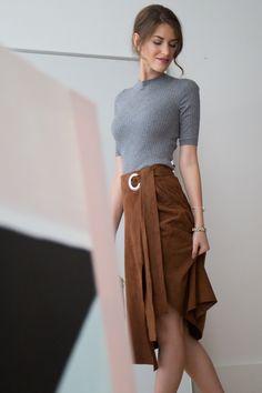 Ribbed sweater + Suede skirt  | Keatonrow.com