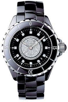 From Les Pierres de Julie: Vintage Watch: Chanel J12 black creamics with  diamonds H1757 38 mm. Amazing !