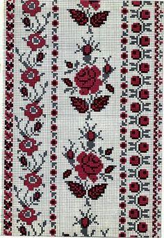 Beading _ Pattern - Motif / Earrings / Band ___ Square Sttich or Bead Loomwork ___ Cross Stitch Borders, Cross Stitching, Cross Stitch Patterns, Palestinian Embroidery, Hungarian Embroidery, Beaded Embroidery, Cross Stitch Embroidery, Beading Patterns, Embroidery Patterns