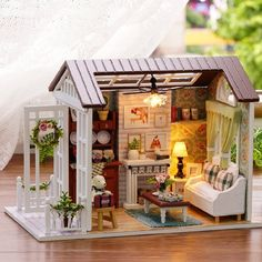 Flever Dollhouse Miniature DIY House Kit Creative Room With Furniture - Happy Time