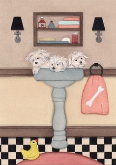 Havanese fill sink at bath time / Lynch signed by watercolorqueen, $13.26