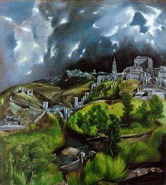 El Greco, (1541 -1614), was een Grieks kunstschilder die voornamelijk in Spanje werkte. Na een opleiding op Kreta in de kunst van de iconen reisde El Greco naar Rome, waar hij studeerde onder Titiaan. De schilderijen van El Greco onderscheiden zich door de langgerekte vormen en de expressieve kleuren. Zicht op Toledo, 1604-1614
