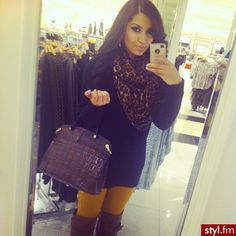 ♥sweater dress with leopard scarf