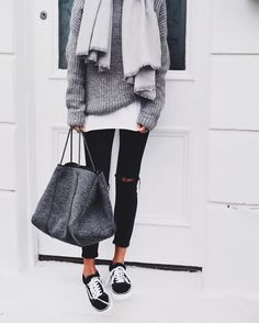 Pinterest: eighthhorcruxx. Black jeans, white tee with grey jumper on top and…