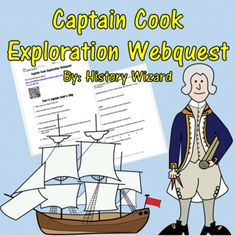 Captain Cook Exploration Webquest uses two great websites that allows students to get a better understanding of the life and impact of Captain Cook had through his exploration of the Pacific during the 1700s. The webquest focuses on Captain Cook's early life, his ships, and achievements in exploration of the Pacific Ocean. Great Websites, Book Characters, Pacific Ocean, Social Studies, Penguins, Students, Ships, Success, Teaching