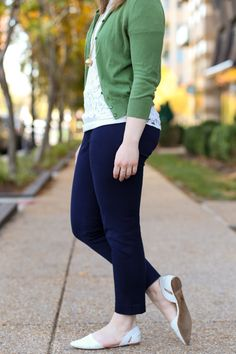 j.crew factory work pants, winnie pants, lace top, green cardigan, madewell d'orsay flats, snake skin print, women outfit fashion style