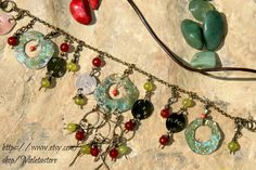 Boho Bohemian metal , Turquoise  ,Agate ,red coral Necklace 17 inches long - pinned by pin4etsy.com