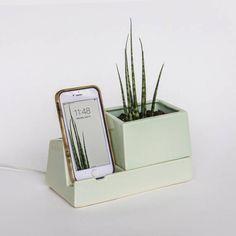 littlealienproducts:MintSprout Phone Dock by STAKCERAMICS