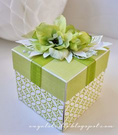 Hello! I'm back, as promised, with another project. I made this one for my friend's birthday. It all started with these green flowers that I...