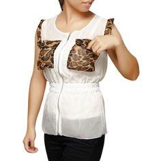 Allegra K Ladies Leopard Print Pockets Zipper Closure Chiffon Shirt Allegra K. $9.20