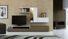 Nueva colección de muebles de salón Egelasta. Mobiliario moderno de salón. Blanco y marrón.