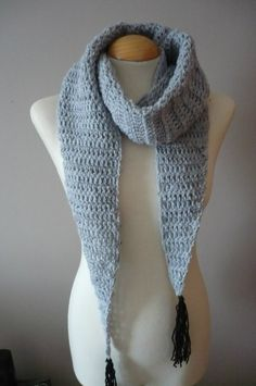 A Grey / Gray Baktus Scarf with black Tassels by Aalexi on Etsy