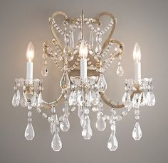 Manor Court Crystal 3-Arm Sconce | Wall | Restoration Hardware Baby & Child