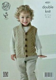 Boys Knitting Pattern K4221 Childrens Long Sleeve V-Neck Cable