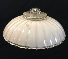 Vintage-Art-Deco-Scalloped-Edge-Glass-Shade-Ceiling-Light