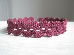 ruby red crochet choker - crochet necklace - goth choker - cranberry yarn jewelry - red fibre textile jewellery - for teenager girl woman