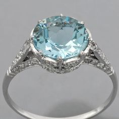 Rose Gold Engagement Rings for women carat t. diamond ring Gift Box Authenticity cards Riviera Shank (G, SI) (Ring Size – Fine Jewelry & Collectibles Antique Rings, Vintage Rings, Antique Jewelry, Vintage Jewelry, Vintage Style, Aquamarine Jewelry, Antique Aquamarine Ring, Emerald Rings, Aquamarine Stone