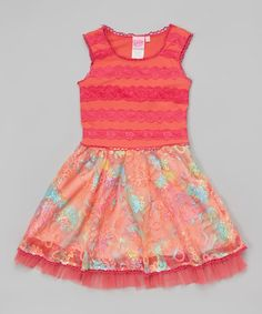 Loving this Coral Pink Floral Dress - Girls on #zulily! #zulilyfinds