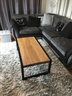 New Oak and steel Coffee table. Matte black steel frame with oiled oak top. £400 ruggeddesignfurniture@gmail.com Steel Coffee Table, Furniture Making, Steel Frame, Matte Black, Furniture Design, Bench, Rugs, Top, Home Decor