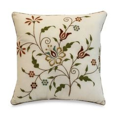 This decorative square toss pillow features a floral embroidery in rich tones of red, blue, and green on an ivory ground that coordinates perfectly with the Amherst bedspread. Cushion Embroidery, Embroidery Flowers Pattern, Crewel Embroidery, Hand Embroidery Designs, Floral Embroidery, Toss Pillows, Decorative Throw Pillows, Cushion Cover Designs, Square