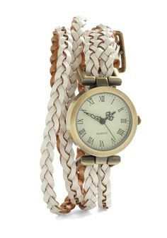 Whitewash Away the Hours Watch - White, Solid, Braided, Casual, Safari, Scholastic/Collegiate, Faux Leather