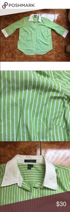 "Lauren Ralph Lauren Green White Collar Top Size 1X Lauren Ralph Lauren Green White Stripe Collar Top Size 1X  Size:1X  Length:28""  Armpit to armpit:23.5""  Sleeves:19""  Good conditions Lauren Ralph Lauren Tops Button Down Shirts"