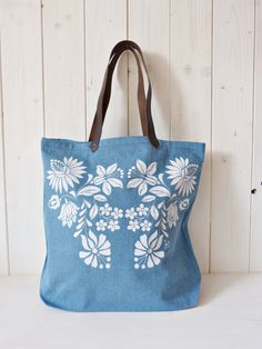 cotton screenprinted denim jeans tote bag with от FolkAffair Denim Tote Bags, Skirt Fashion, Screen Printing, Denim Jeans, Light Blue, Buy And Sell, Brown, Pattern, Cotton