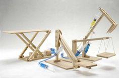 Hydraulic Machines 4 in 1 Wooden Kit: Cherry Picker, Platform Lifter, Excavator, Scissor Lift Pathfinders