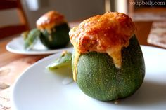 Stuffed eight-ball zucchini with bacon, tomatoes, and bread crumbs ...