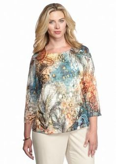 Alfred Dunner  Plus Size Colorado Springs Embellished Burnout Top