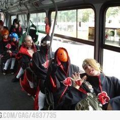 The Akatsuki Members riding on a bus..