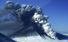 The Pavlof volcano erupts, as seen from the air from the southwest in Cold Bay, Alaska. Picture: AP