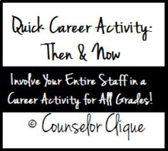 This product, by Counselor Clique, is a Quick Career Activity: Then and Now. Quick Career Activity: Then and Now is a downloadable sheet for teachers to promote career development in your school! Use this bundle for your elementary, middle, or