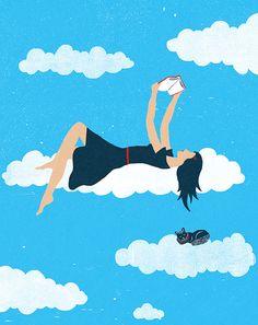 I'm in the clouds … reading / Estoy en la nubes… leyendo (ilustración de Christopher Silas Neal)