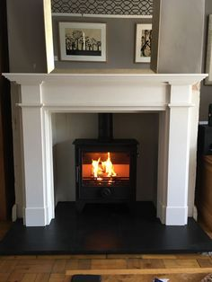 Terrific Pictures limestone Fireplace Mantels Thoughts Dean Forge with FDC Ascot Limestone surround. Living Room And Dining Room Design, Log Burner Living Room, Elegant Living Room, Living Room With Fireplace, Home Living Room, Living Area, Wooden Fireplace Surround, Wood Burner Fireplace, Fireplace Surrounds