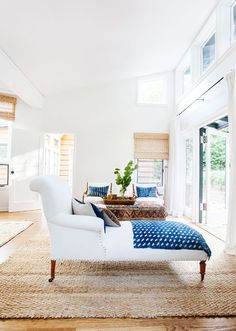 Bedroom sitting area in a California eclectic home.