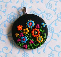 Fimo Polymer Clay Necklace Medallion - Magical Midnight garden