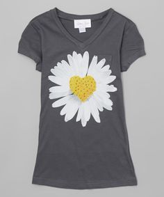 Take a look at this Gi Gi Girl Charcoal & White Daisy V-Neck Tee - Girls today!