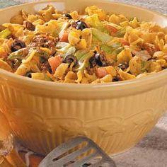 taco salad.  Ill have to tweak this a bit.  Turkey instead of beef, sourcream instead of mayo. randi66