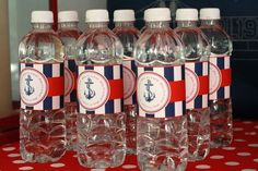 DIY Printable Water Bottle Labels - Ahoy It's a Boy Baby Shower - Nautical