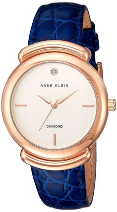 Anne Klein Women's Quartz Metal and Leather Dress Watch, Color:Blue (Model: AK/2358RGNV) *** You can get additional details at the image link.