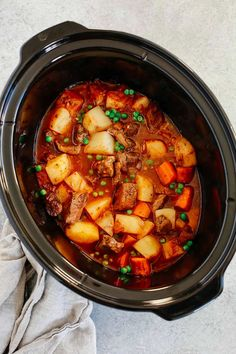 Cozy, delicious and rich, this gluten-free Healthy Slow Cooker Beef Stew is loaded with potatoes, carrots, and mushrooms alongside tender, melt in your mouth beef. It's paleo friendly as well! #healthybeefstew #healthyslowcookerbeefstew #beefstew Healthy Slow Cooker, Slow Cooker Beef, Slow Cooker Recipes, Crockpot Recipes, Chicken Recipes, Paleo Recipes, Dinner Recipes, Baked Pork, Baked Chicken Breast