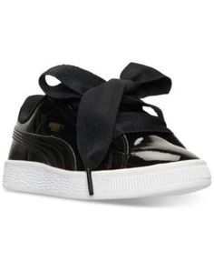 Puma Little Girls' Basket Heart Patent Casual Sneakers from Finish Line - Black 2.5