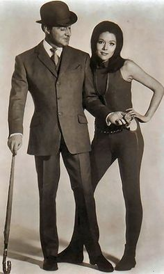 "Patrick MacNee as 'Mr. John Steed' and Diana Rigg as 'Mrs. Emma Peel' are ""The Avengers"""