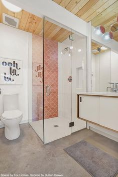 Bathroom goals here in the beautiful MCM space that combines handmade coral tile from Mercury Mosaics with made-to-order custom lighting by Dutton Brown. Space designed by Fox Homes. - Home Decor Bathroom Goals, Bathroom Colors, Bathroom Ideas, Pink Bathroom Tiles, Bathroom Trends, Bathroom Mirrors, Remodel Bathroom, Bathroom Organization, Bathroom Renovations