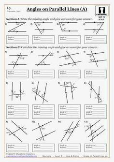 Printable Worksheets Angles on Parallel Lines (A) Maths Worksheet