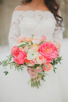 Flowers by Lace and Lilies, spring bridal bouquet, long sleeve wedding dress, mountain wedding. Coral, peach, blush and ivory. Peonies, garden rose, ranunculus.