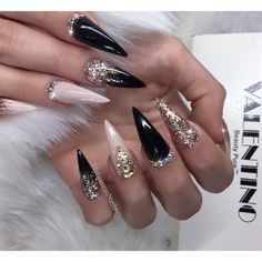 Black And Nude Rose Gold Stilettos  by MargaritasNailz from Nail Art Gallery